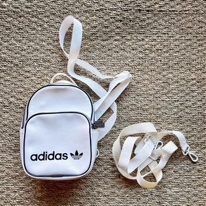Adidas Originals Classic Vintage Mini White Backpack with Trefoil Logo